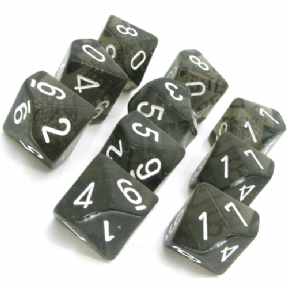 Smoke & White Translucent D10 Ten Sided Dice Set